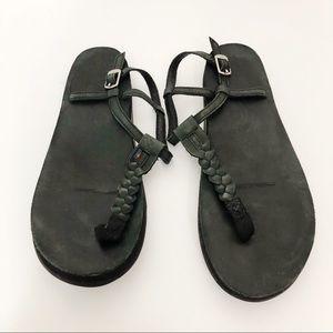Rainbow T-Street Single Layer Leather Sandal Black